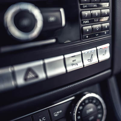 Modern details of electric car dashboard